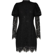 Black Lace Puff Sleeve Dress - Dresses -