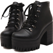 Black Lace-Up Boots - Stiefel -