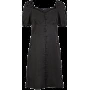 Black Linen Dress - Dresses -