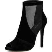 Black Mesh Suede Peep Toe - Stiefel - $50.39  ~ 43.28€