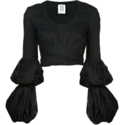 Black Puff Sleeve Blouse - Dresses -