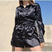 Black Satin Waist Lapel Buttondown Lazy - Платья - $25.99  ~ 22.32€