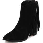 Black Suede Fringed Ankle Boots - Stiefel - $51.79  ~ 44.48€