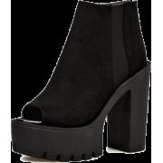 Black Suede Peep Toe Cleated Platform - Stiefel - $61.59  ~ 52.90€
