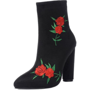 Black Suede  Rose Embroidered Ankle Boot - Stiefel - $58.79  ~ 50.49€