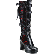 Black and Red Corset Knee Boots - Boots -