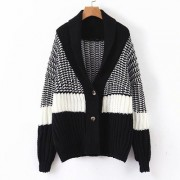 Black and white contrast color knit thic - Jacket - coats - $39.99