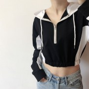 Black and white contrast color short ins hooded sweater female long-sleeved casu - Shirts - $27.99