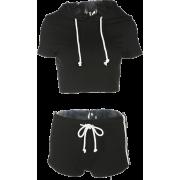 Black and white ribbon short-sleeved spo - Shirts - $25.99