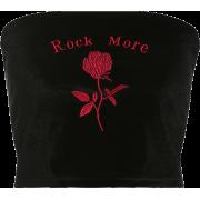 Black velvet rose top tube top - Tanks - $17.99