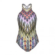 Blooming Jelly Women's One Piece High Cut Halter Backless Criss Cross Monokini Tropical Tribal Print Swimsuit - Swimsuit - $18.99