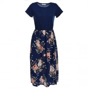 Blooming Jelly Women's Summer Contrast Short Sleeve Printed Casual Floral Midi T Shirt Dress - Dresses - $11.99