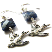 Blue Sodalite Gem Sterling Bird Earrings - Brincos - $27.00  ~ 23.19€
