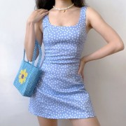 Blue Flower Retro Slim Print U-Neck A-line Sleeveless Dress Strapless Skirt - Obleke - $35.99  ~ 30.91€