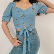 Blue Vintage Floral Floral Cuff Shirt - T-shirts - $27.99