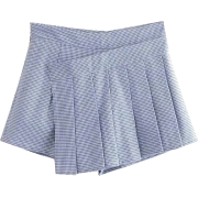 Blue and White Pleated Houndstooth Skirt - Skirts - $25.99