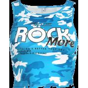 Blue camouflage letter vest - Shirts - $17.99