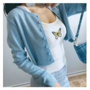 Blue knitted cardigan - Shirts - $27.99
