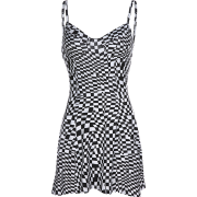 Bohemian black and white plaid sexy dres - Dresses - $25.99
