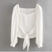 Bow tie short puff sleeve shirt - Košulje - kratke - $27.99  ~ 177,81kn