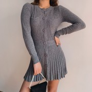 Breasted Ribbed Knit Pleated Skirt Dress - Платья - $27.99  ~ 24.04€