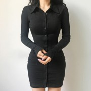 Breasted design long sleeve sexy dress - Kleider - $27.99  ~ 24.04€