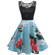 Bridesmay 1950s Vintage Lace Rockabilly Cocktail Dress Floral Tank Flared Dress - Dresses - $39.99