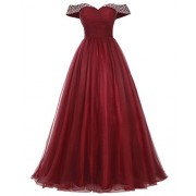 Bridesmay Long Tulle Prom Dress Beaded Off Shoulder Evening Gown Formal Dress - Dresses - $269.99