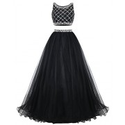 Bridesmay Long Tulle Prom Dress Two Piece Beaded Party Dress Bridesmaid Dress - Dresses - $239.00