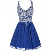 Bridesmay Short Chiffon Prom Dress V-Neck Beaded Bridesmaid Dress Party Dress - Dresses - $249.99