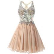 Bridesmay Short Chiffon Prom Homecoming Dress Beading Evening Party Dress - Dresses - $149.99