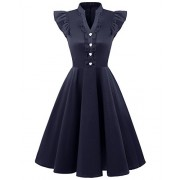 Bridesmay Women 1950s Vintage Stand Collar Button up Cocktail Party Dress with Cap Sleeve - Dresses - $39.99