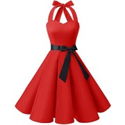 Bridesmay Women 50's Vintage Rockabilly Halter Swing Cocktail Party Dress - Dresses - $39.99
