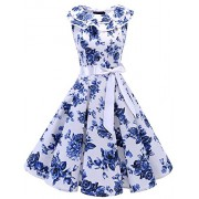 Bridesmay Women Ruffle Collar 50s Vintage Rockabilly Swing Cocktail Party Dress Sleeveless - Dresses - $39.99