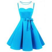 Bridesmay Women's See-Through Audrey Hepburn 1950s Vintage Rockabilly Swing Dress - Dresses - $29.99