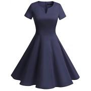 Bridesmay Women's Vintage 1950s Dress V-Neck Short Sleeves Retro Swing Dress - Dresses - $39.99