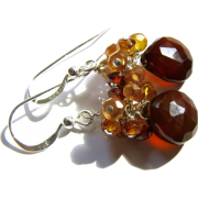 Brown Chalcedony Gem Cluster Earrings - Brincos - $28.00  ~ 24.05€