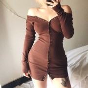 Brown Front Breasted Super Skinny Hip Knit Long Sleeve Slit Dress - Haljine - $27.99  ~ 177,81kn