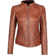 Brown Lambskin Women's Motorcycle Leather Jacket - Jacket - coats - 203.00€  ~ $236.35