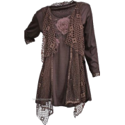 Brown Tunic with Netting Details - Tunike -