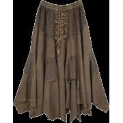 Brown Uneven Hem Skirt - Skirts -