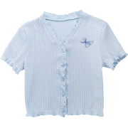 Butterfly Applique Girl Fairy Sunscreen Shirt Summer Thin Short Sleeve V-Neck Ca - Shirts - $23.99