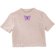 Butterfly applique short top women's summer new round neck skin tone short sleev - Shirts - $23.99