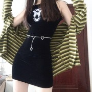 Butterfly embroidered black velvet skirt cross camisole dress - sukienki - $25.99  ~ 22.32€