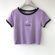 Butterfly embroidery 100% cotton short-sleeved T-shirt waist waist short top - Košulje - kratke - $21.99  ~ 18.89€