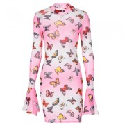 Butterfly print flared long sleeve dress - Dresses - $21.99