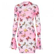 Butterfly print flared long sleeve dress - Vestidos - $21.99  ~ 18.89€