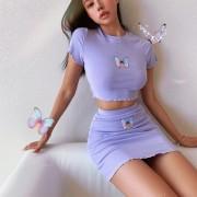 Butterfly print suit, fungus, short navel top, bag, hip skirt - 半袖衫/女式衬衫 - $27.99  ~ ¥187.54