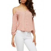 Button Detail Cold Shoulder Top - Top - $10.99