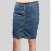 Buttoned Front Four Pocket Stretch Denim Skirt Medium blue - Skirts - $19.99